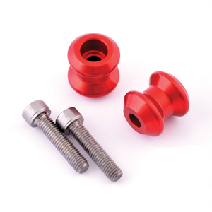 CNC machined aluminium paddock stand bobbins- red anodised